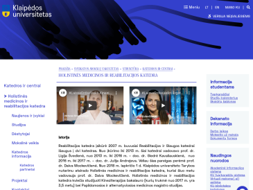 Klaipėdos universitetas, Sveikatos mokslų fakultetas, Holistinės medicinos ir reabilitacijos katedra
