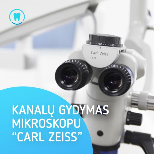 """Dantų kanalų gydymas mikroskopu """"Carl Zeiss"""""""