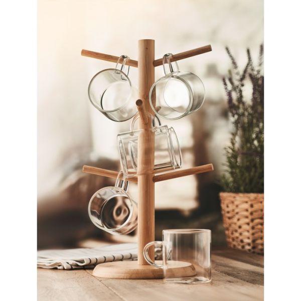 Puodeliai jaukiai namų aplinkai, borosilikato stiklas, su bambuko stovu