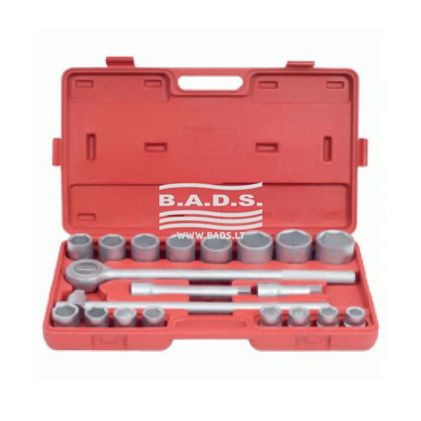 Įrankiai - Galvutės, Galvučių Rinkiniai - Galvučių komplektai - Raktų ir galvučių rinkinys, 3/4′, (20vnt) 39833
