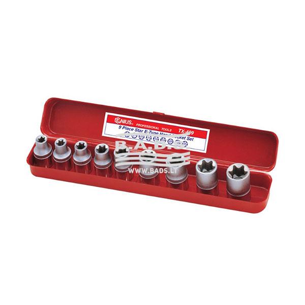 Įrankiai - Galvutės, Galvučių Rinkiniai - Galvučių komplektai - Galvučių 1/2 E-tipo komplektas (9vnt) TX-409