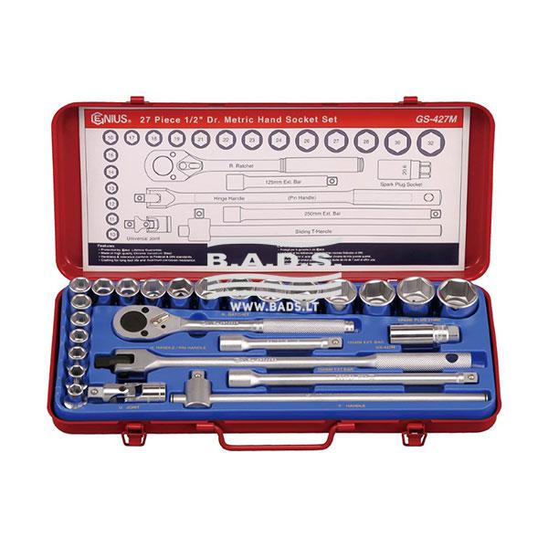 Įrankiai - Galvutės, Galvučių Rinkiniai - Galvučių komplektai - Galvučių 1/2″ kompl. su terkšle ir prailgintojais (27 vnt.) GS-427M
