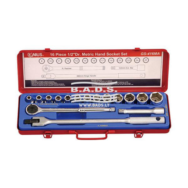 Įrankiai - Galvutės, Galvučių Rinkiniai - Galvučių komplektai - Galvučių 1/2″ komplektas metalinėje dėžutėje (16vnt) GS-416MA