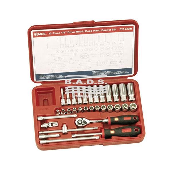Įrankiai - Galvutės, Galvučių Rinkiniai - Galvučių komplektai - Galvučių 1/4 komplektas lagamine (32vnt) EU-232M