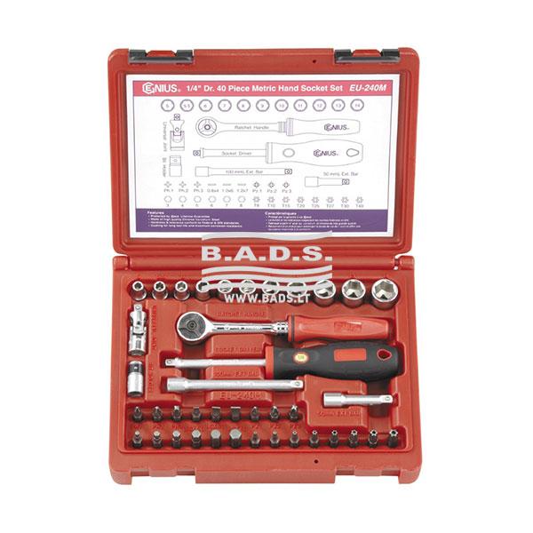 Įrankiai - Galvutės, Galvučių Rinkiniai - Galvučių komplektai - Galvučių 1/4 komplektas lagamine (40vnt) EU-240M
