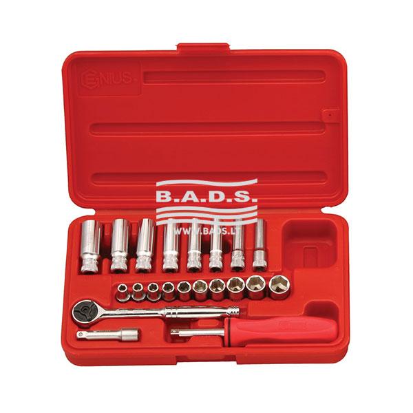 Įrankiai - Galvutės, Galvučių Rinkiniai - Galvučių komplektai - Galvučių 1/4 komplektas plastikinėje dėžutėje (21vnt) GS-221M
