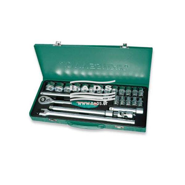 Įrankiai - Galvutės, Galvučių Rinkiniai - Galvučių komplektai - Galvučių su terkšle 1/2″ komplektas metaliniame lagamine (24vnt) S04H4524S