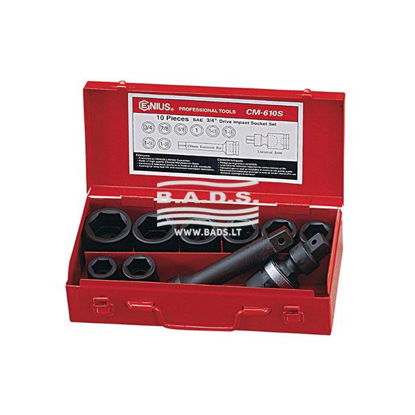 """Įrankiai - Smūginės galvutės - Smūginės galvutės 3/4"""" - Smūginių galvučių 3/4″ ilgų komplektas (10 vnt) CM-610M"""