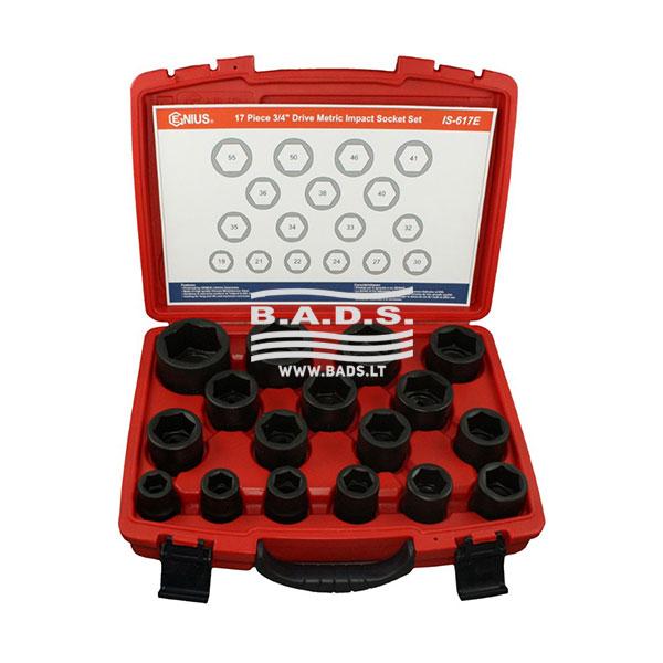 """Įrankiai - Smūginės galvutės - Smūginės galvutės 3/4"""" - Smūginių galvučių 3/4″ komplektas (17 vnt) IS-617E"""