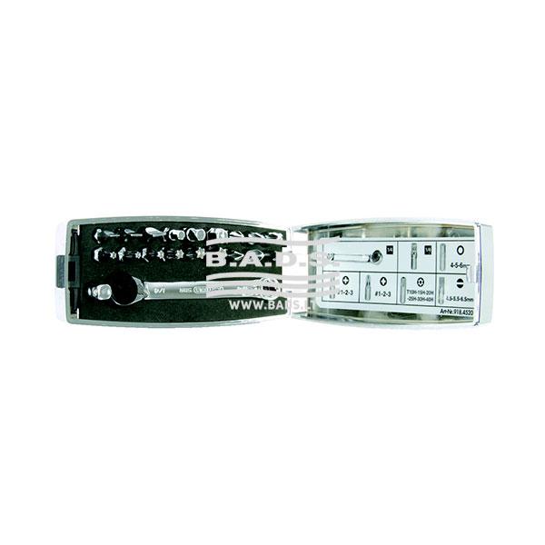 Įrankiai - Atsuktuvai ir antgaliai - Antgalių komplektai - Antgalių komplektas su terkšle (20vnt) 918.4520