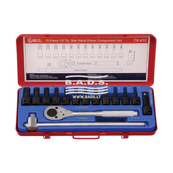 Įrankiai - Galvučių ir įrankių komplektai - Įrankių komplektas lagamine (15vnt.) Tx-415