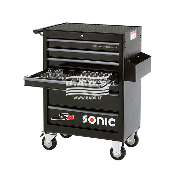 Įrankiai - Įrankių vežimėliai su įrankiais - Įrankių vežimėlis S8 su įrankių komplektu (158vnt) 715806