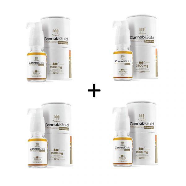 Kanapių CBD Aliejaus CannabiGold Premium 1500 mg 4 VNT. rinkinys