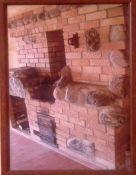 Židinys su dekoratyvinėm plytom ir akmenimis