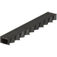 PVC latako elementas (1,0m) su juodomis PVC grotelėmis HexaLine 319310