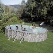 Ovalus baseinas 6.1m x 3.75m, h1.32m SKYATHOS akmens apdailos imitacija