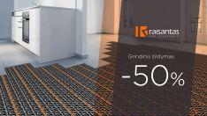 Medžiagos grindiniam šildymui -50%
