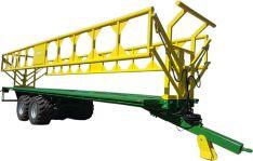 Rulonų transportavimo puspriekabė su hidrauliniais bortais
