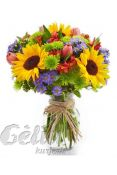 Gėlių pukštė su saulėgrąžomis
