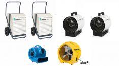 Drėgmės surinkėjas CORROVENTA KT1200 x 2 + Ventiliatorius XPOWER P-800 + Ventiliatorius MASTER BL 8800 + šildytuvas TROTEC TDS 20R x 2
