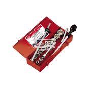 """Įrankiai - Galvutės, galvučių rinkiniai - Galvutės 3/4"""" - Galvučių 3/4 komplektas metalinėje dėžėje (17vnt) GS-617M"""