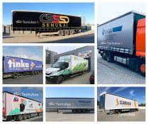 Reklama ant puspriekabių, furgonų ir kitų tentų