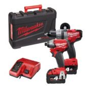Akumuliatorinis įrankių komplektas Milwaukee M18 PP2A-402C (18V)+