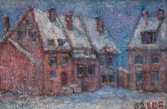 Didžioji Vandens gatvelė žiemą 1962m. Aliejus/drobė, 30x46cm.