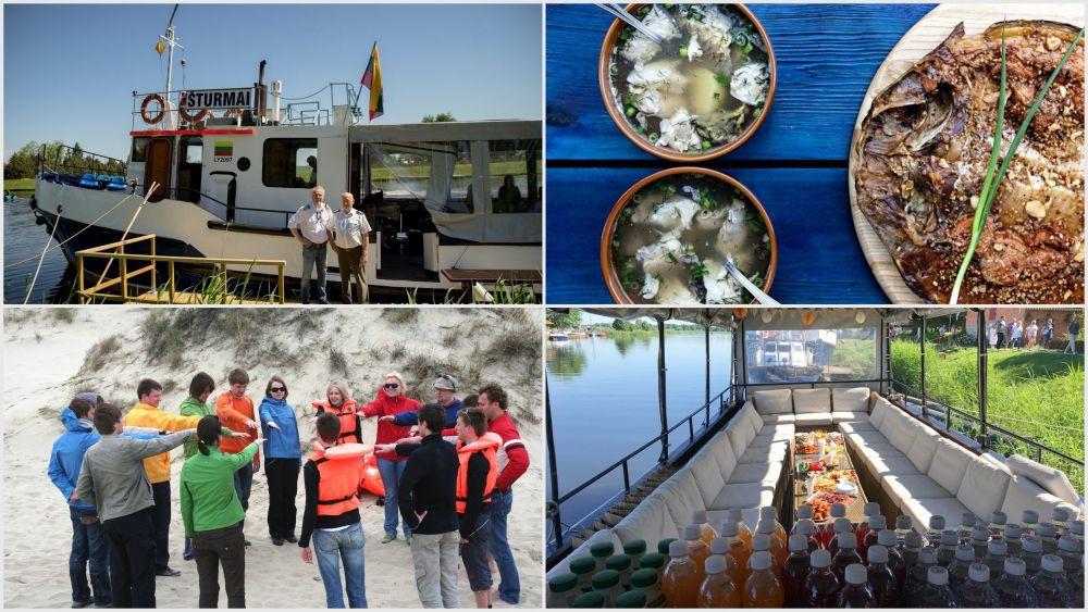 Pramoginė ekskursija laivu į Nidą su žuvies degustacija laive ir aktyvia pramoga krante
