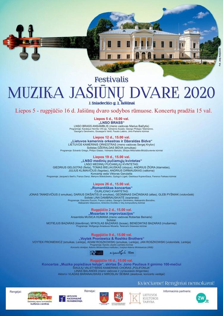 """Festivalis """"Muzika Jašiūnų dvare"""" 2020"""
